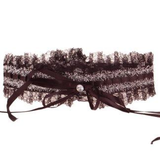 Zwarte kousenband met zilverdraad en strass