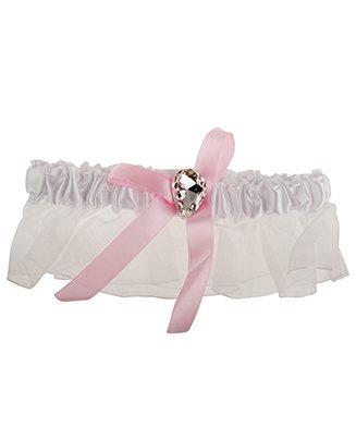 Kousenband wit met organza en roze lint met strass