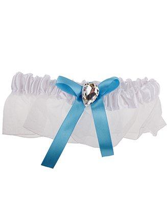 Witte kousenband met blauw strikje en strass