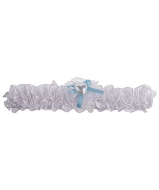Kousenband wit met blauw lintje