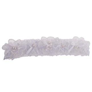 Kousenband wit met bloemetjes en pareltjes