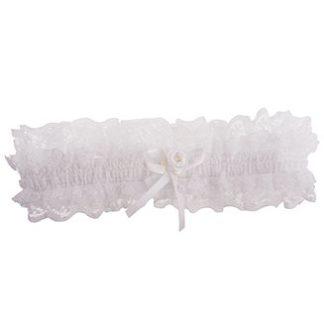 Kousenband ivoor met strikje en roosje
