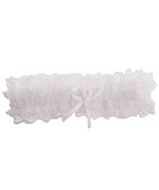 Ivoor kleur kousenband met kant, strikje en roosje