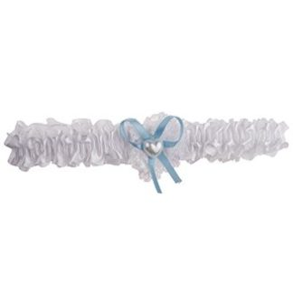 Kousenband wit met blauw strikje