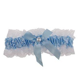 Blauwe kousenband kopen - blauw met wit kant en pareltje