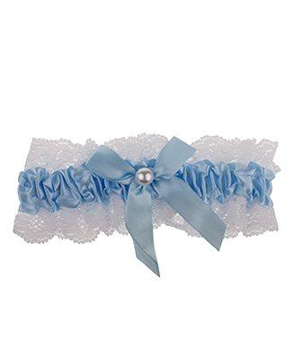Blauwe kousenband kopen met kant, strik en pareltje