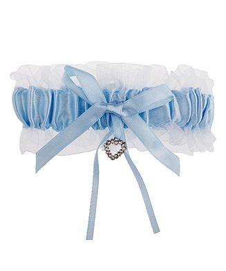 Blauwe kousenband met strikje, hartje en wit organza