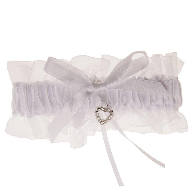 Kousenband wit met zilverkleurig hartje strass