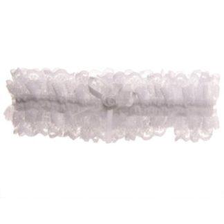 kousenband wit met strikje en roosje