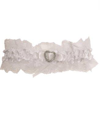 Kousenband wit met kant en hartje strass