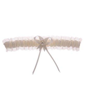 Kousenband ivoor organza met strikje en pareltje