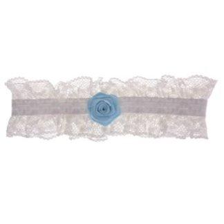 Kosuenband ivoor kant met blauwe roos - Bohemian bruid