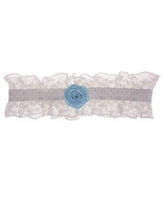 Kousenband ivoor kant met blauwe roos