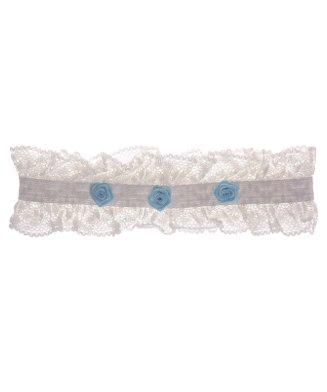 Kousenband ivoor met 3 blauwe roosjes