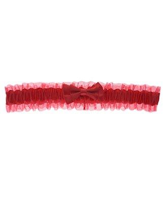 Kousenband rood met orgaznza en strik