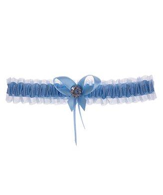 Kousenband blauw met strikjes en strass