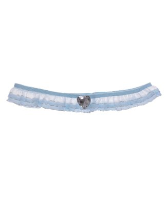 Smalle blauwe kousenband met laagjes organza en zilverdraad, hartvormig strass
