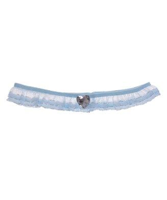 Kousenband blauw smal met organza en hartje strass