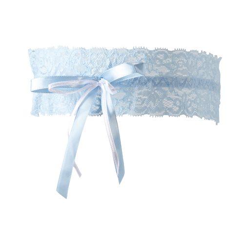 Extern-Blauwe kousenband met strikjes