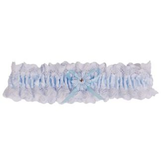 Kousenband bruid blauw met bloemetje en strass